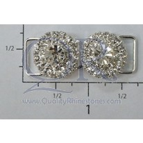 "Czech Crystal Rhinestone 1 5/8""  Round Center Stone Clasp"